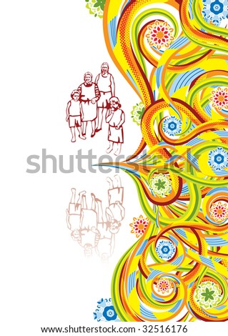 Rural family in abstract collage. Vector illustration. Isolated groups and layers. Global colors.