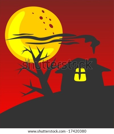 Rural house silhouette on a red background. Halloween illustration.