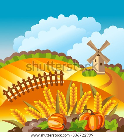 Rural landscape. Autumn countryside with windmill, wheat ears, pumpkins, fence. - stock vector