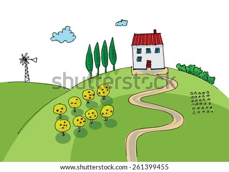 rural landscape - cartoon