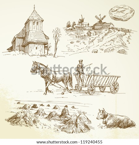 rural landscape, farming, haying - hand drawn collection - stock vector