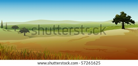 Rural landscape from countries of southern Europe, panoramic view, vector illustration - stock vector