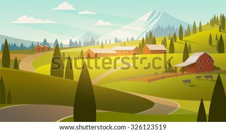 Rural landscape illustration - stock vector