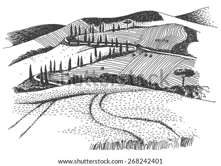 rural landscape ink pen picture - vector - stock vector