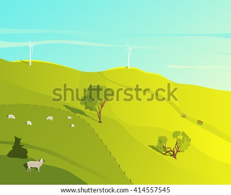 Rural landscape. Landscape with green meadow and grazing sheep on a summer day. Wind farm. Cartoon farm field. Farmer's field. Ecology environmental background. Farm domestic animals. Natural concept - stock vector