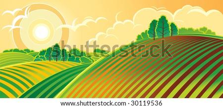 Rural landscape. Spring. - stock vector
