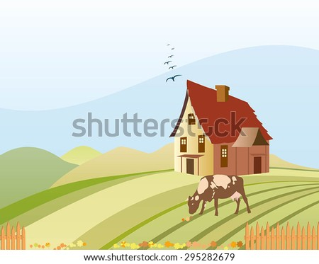 Rural landscape Vector illustration. Illustration of beautiful summer village with house and a grazing cow on the hills.Illustration of cute house. Cow grazing in a meadow.