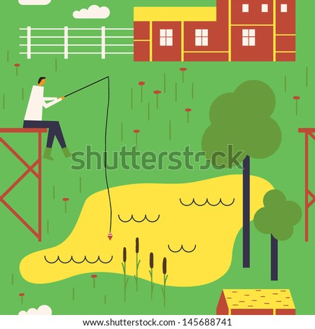 Rural landscape with a fisherman. Vector seamless background - stock vector