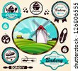 Rural landscape with a mill and bakery badges and labels for your design - stock vector
