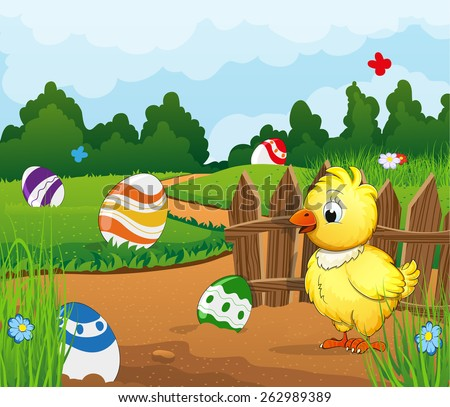 Rural landscape with a small chicken and painted easter eggs on a green meadow. Dense forest and sky in the background. Easter scene - stock vector