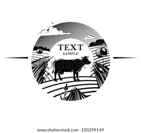 Rural landscape with cow stands on field under cloudy sky. Engraving style - stock vector