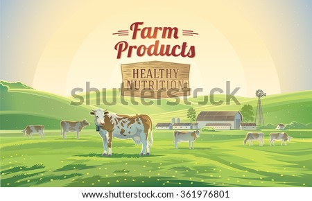 """Rural landscape with cows and farm in background and lettering """"Farm product"""". Farmland. Vector illustration. - stock vector"""
