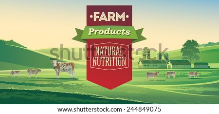 Rural landscape with cows and lettering design elements.