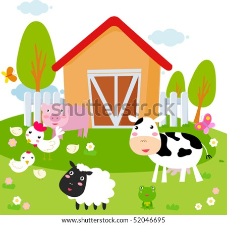 Rural landscape with farm animals. - stock vector