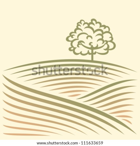 Rural landscape with fields and tree - stock vector