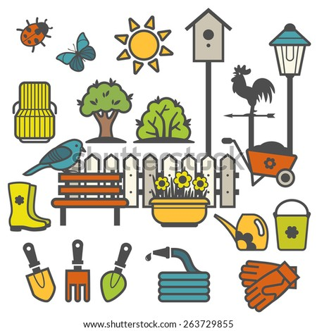 Rural landscape with gardening concept. Set of garden tools and accessories icons - stock vector