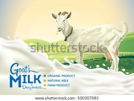 Rural landscape with goat and splash of milk as a design element.