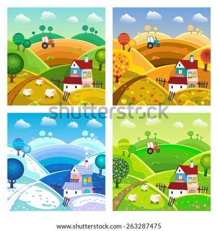 Rural landscape with hills, house, mill and tractor. Four seasons. - stock vector