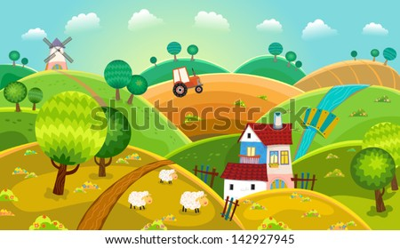 Rural landscape with hills, house, mill and tractor. Vector.