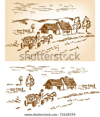 Rural landscape with house, horse and cart. Rough drawing converted to vectors. Ready to change the composition. - stock vector