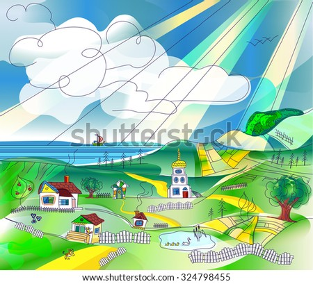 Rural landscape with sky, fields, hills, lake and sea. Country landscape background for your design, space for text - stock vector