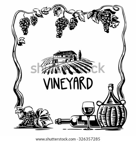 Rural landscape with villa and vineyard fields. Bunch of grapes, a bottle, a glass and a jug of wine. Black and white vintage vector square illustration for label, poster, web, icon. - stock vector