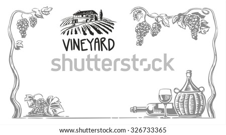 Rural landscape with villa and vineyard fields. Bunch of grapes, a bottle, a glass and a jug of wine. Black and white vintage vector wide illustration for label, poster, web, icon.