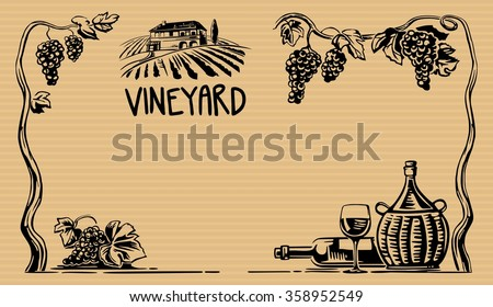 Rural landscape with villa and vineyard fields. Bunch of grapes, a bottle, a glass and a jug of wine. Black vintage vector wide illustration for label, poster, web, icon.  Brown background.