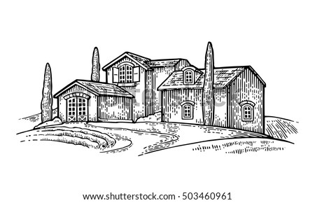 Rural landscape with villa, field, tree and farm. Vector engraving vintage black illustration. Isolated on white background.