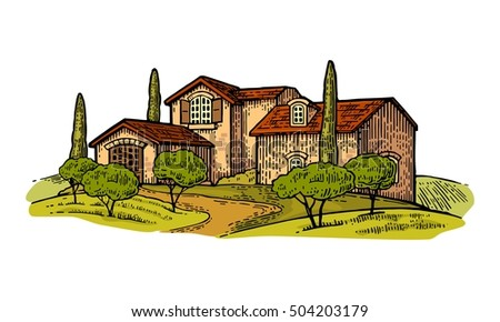 Rural landscape with villa or farm with field, olive tree and cypress. Vector engraving vintage color illustration. Isolated on white background.