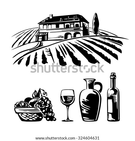 Rural landscape with villa, vineyard fields and hills. Basket with grapes, a bottle, a glass and a jug of wine. Black and white vintage vector illustration for label, poster, web, icon. - stock vector