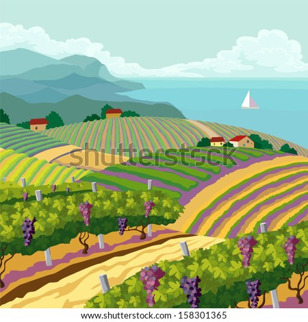 Rural landscape with vineyard and mountain and sea panoram - stock vector