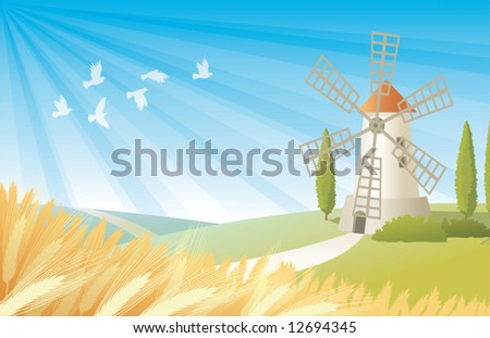 Rural landscape with windmill - stock vector