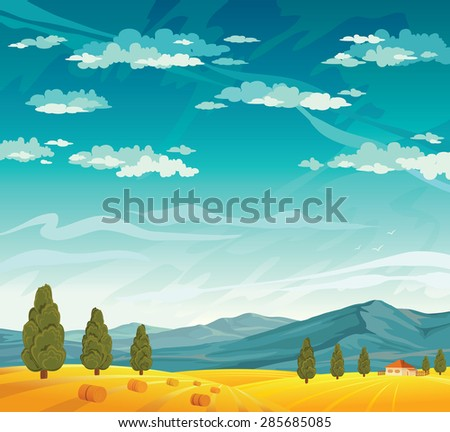 Rural landscape with yellow field  and mountains on a blue cloudy sky. Summer natural vector. - stock vector