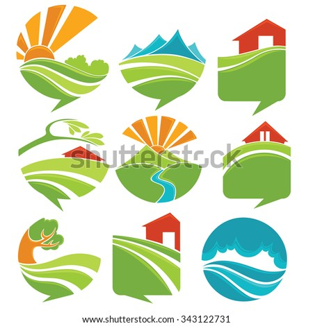 rural landscapes look like a speech bubble - stock vector