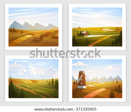 Rural landscapes. Set of Vector illustration.  Road in golden  wheat field, mountains, hills, clouds on the sky, windmill, house near the lake. Flat style illustration of autumn nature. - stock vector