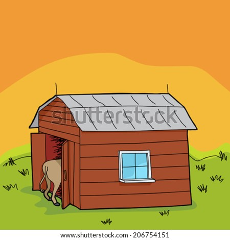 Rural scene with barn and animal rear end - stock vector