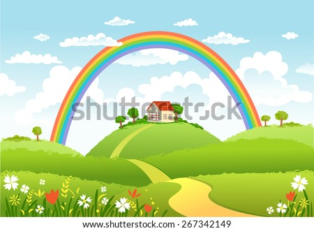 Rural scene with rainbow and green field, house and trees on sunny day - stock vector