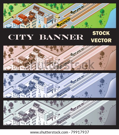 Rural station with train arrivals and passengers - stock vector