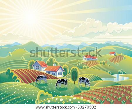 Rural summer landscape - stock vector