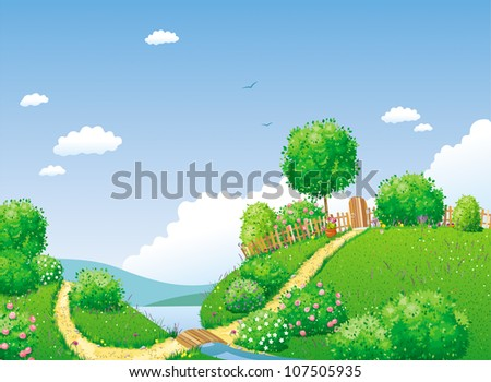 Rural summer landscape with river, bridge, trees and bushes - stock vector