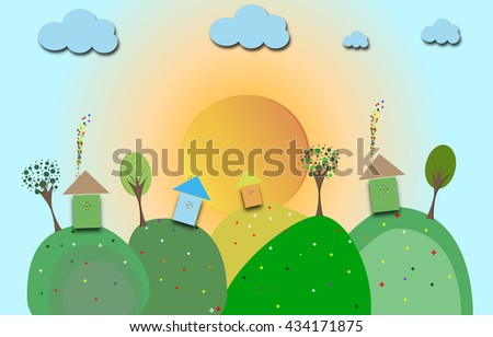 rural village on the hill. vector