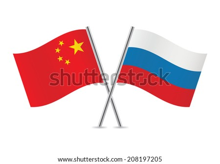 Russia and China flags. Vector illustration. - stock vector