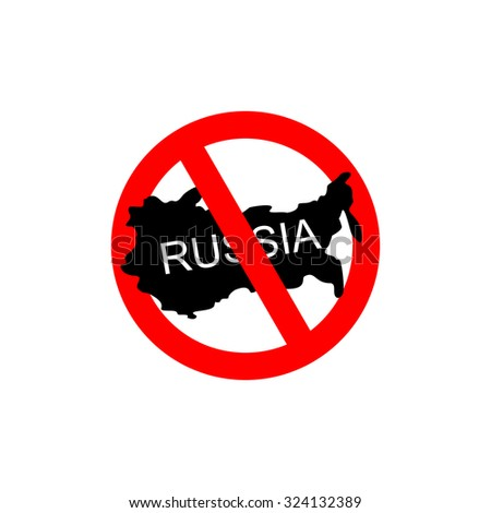 Russia banned. Stop Russian aggressors. Red forbidding sign for Russian countries. Ban for Russians. - stock vector