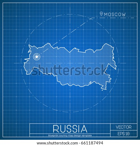 Russia blueprint map template capital city stock vector 661187494 russia blueprint map template with capital city moscow marked on blueprint russian map vector malvernweather Images