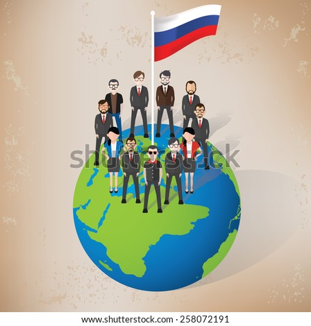 Russia character design on old paper background,grunge vector