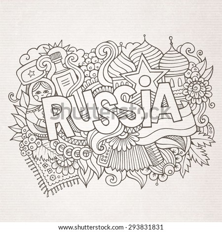 Russia country hand lettering and doodles elements and symbols background. Vector hand drawn sketchy illustration - stock vector