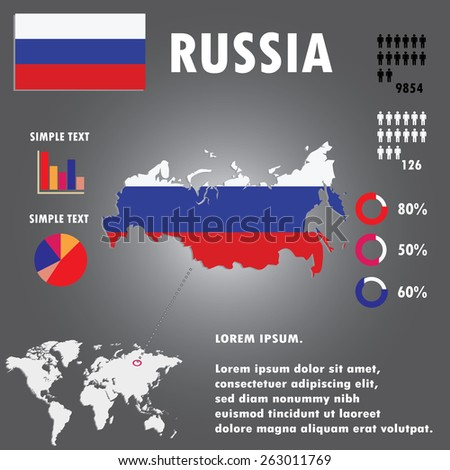 Russia Country Infographics Template Vector - stock vector