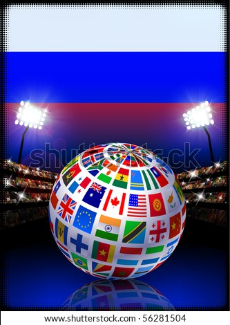 Russia Flag Globe on Stadium Background Original Illustration