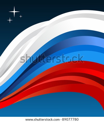 Russia flag illustration fluttering on blue background. Vector file available. - stock vector